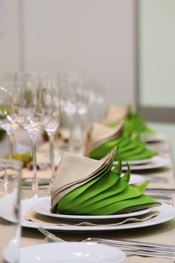 green and white napkins