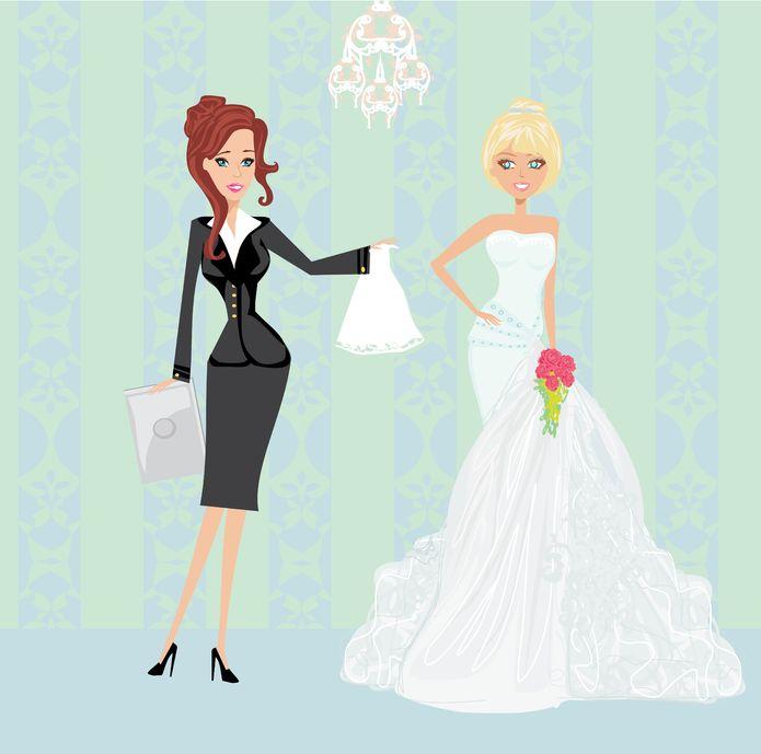cartoon wedding planner at work