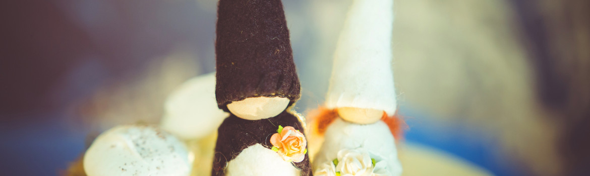 The cake topper were two gnomes