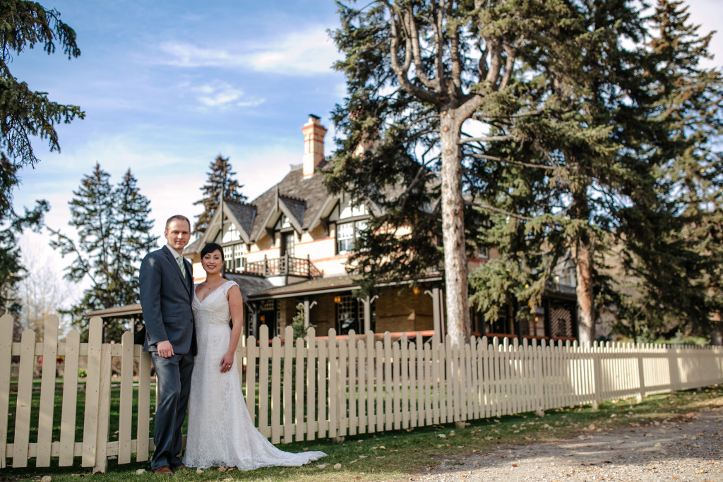 Jazmin & Ryan in front of Bow Valley Ranch Restaurant