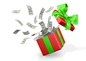 53715671 - gift box with banknote of dollar.