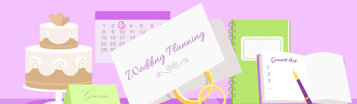 49427147 - wedding planning design flat fashion. wedding planner, event planning, wedding invitation, plan and wedding cake, holiday decoration, marriage event illustration