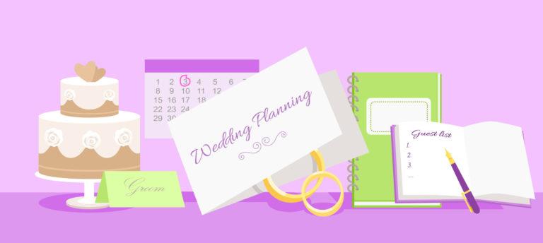 49427147 - wedding planning design flat fashion. wedding planner, event planning, wedding invitation, plan and wedding cake, holiday decoration, marriage event illustration