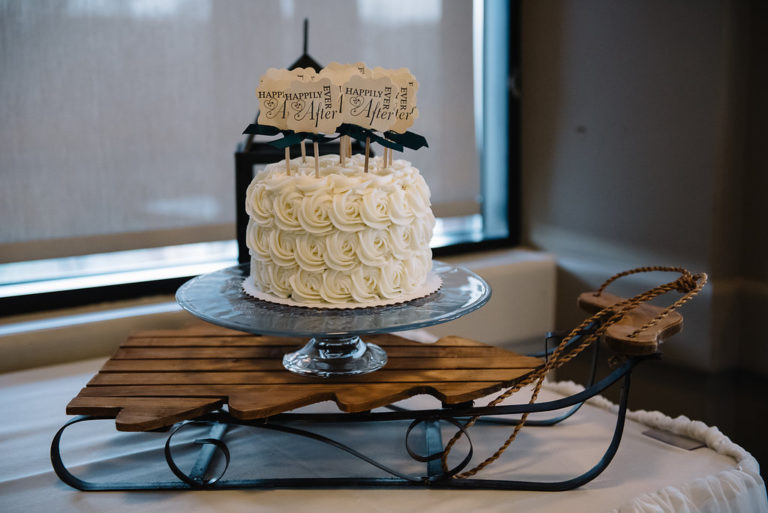 Cake on a sleigh-Calgary wedding planner